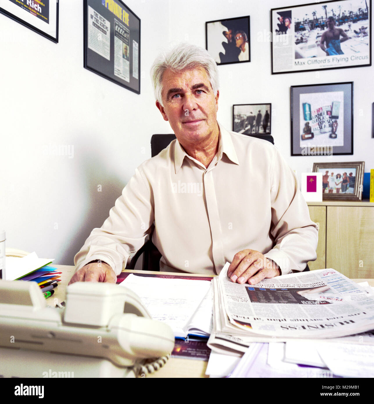 """Portrait of Max Clifford English publicist  famous for his """"kiss-and-tell"""" stories to tabloid newspapers. Photographed Stock Photo"""