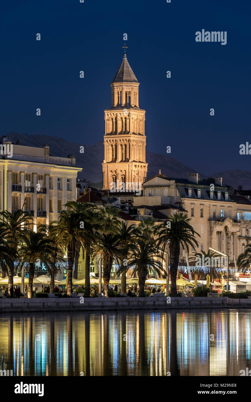 Waterfront with Cathedral of St. Domnius in the background, Split, Dalmatia, Croatia - Stock Image