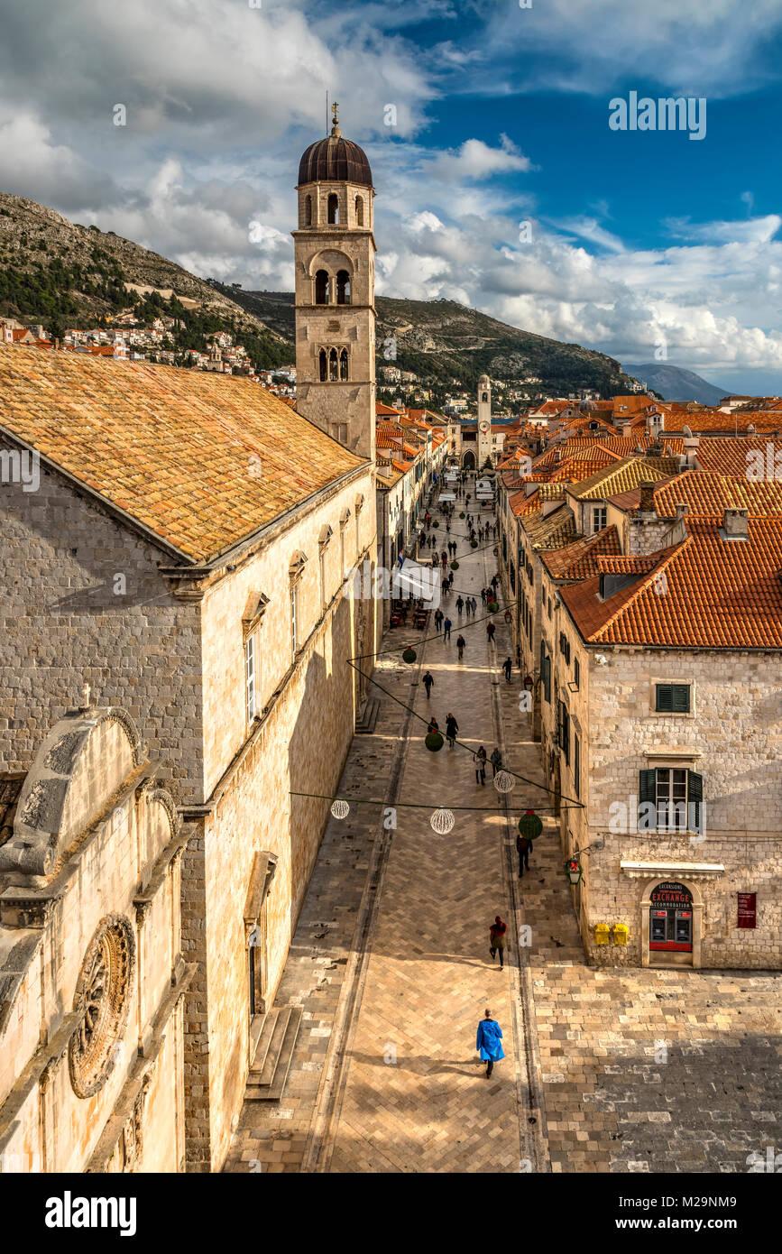 Stradun pedestrian street, Dubrovnik, Croatia - Stock Image