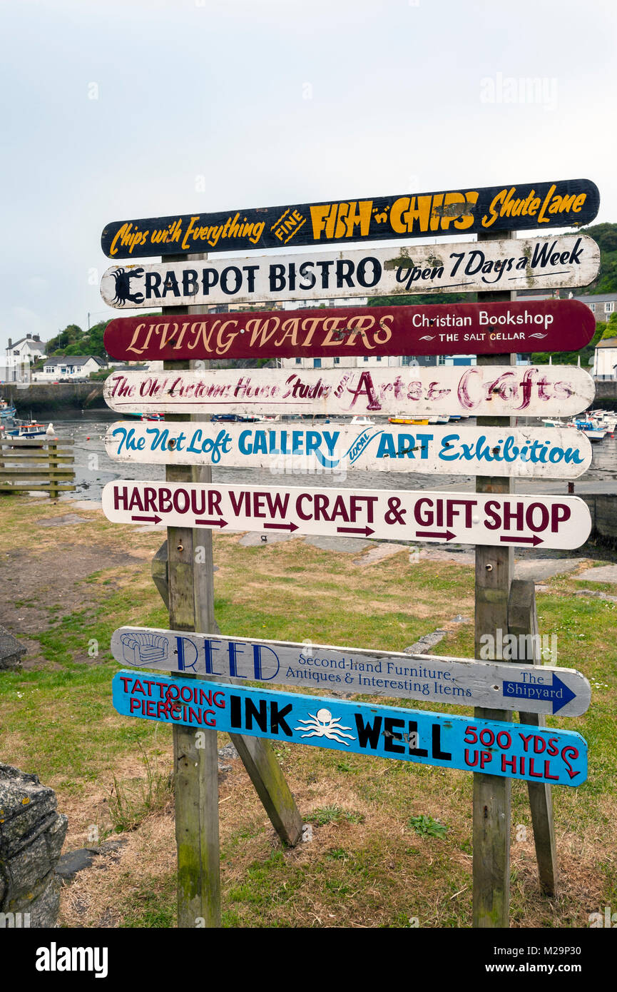 PORTHLEVEN, CORNWALL:  Old advertising sign - Stock Image