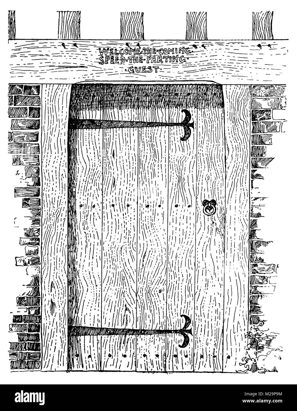 wooden front door, arts and crafts line illustration by Architect and artist Mackay Hugh Baillie Scott from 1895 - Stock Image