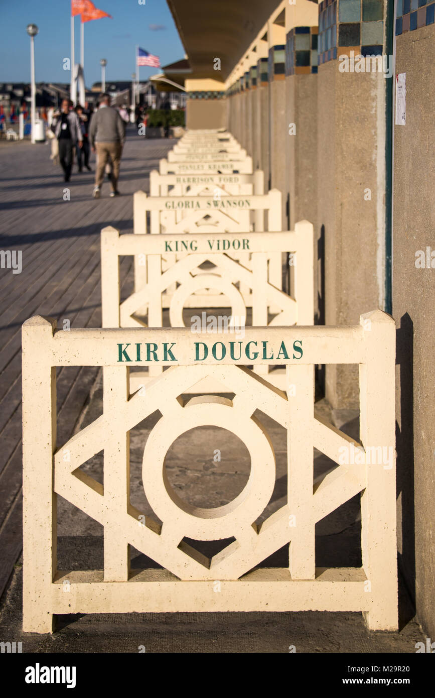 Deauville, Promenade des Planches with the names of american movie stars - Stock Image