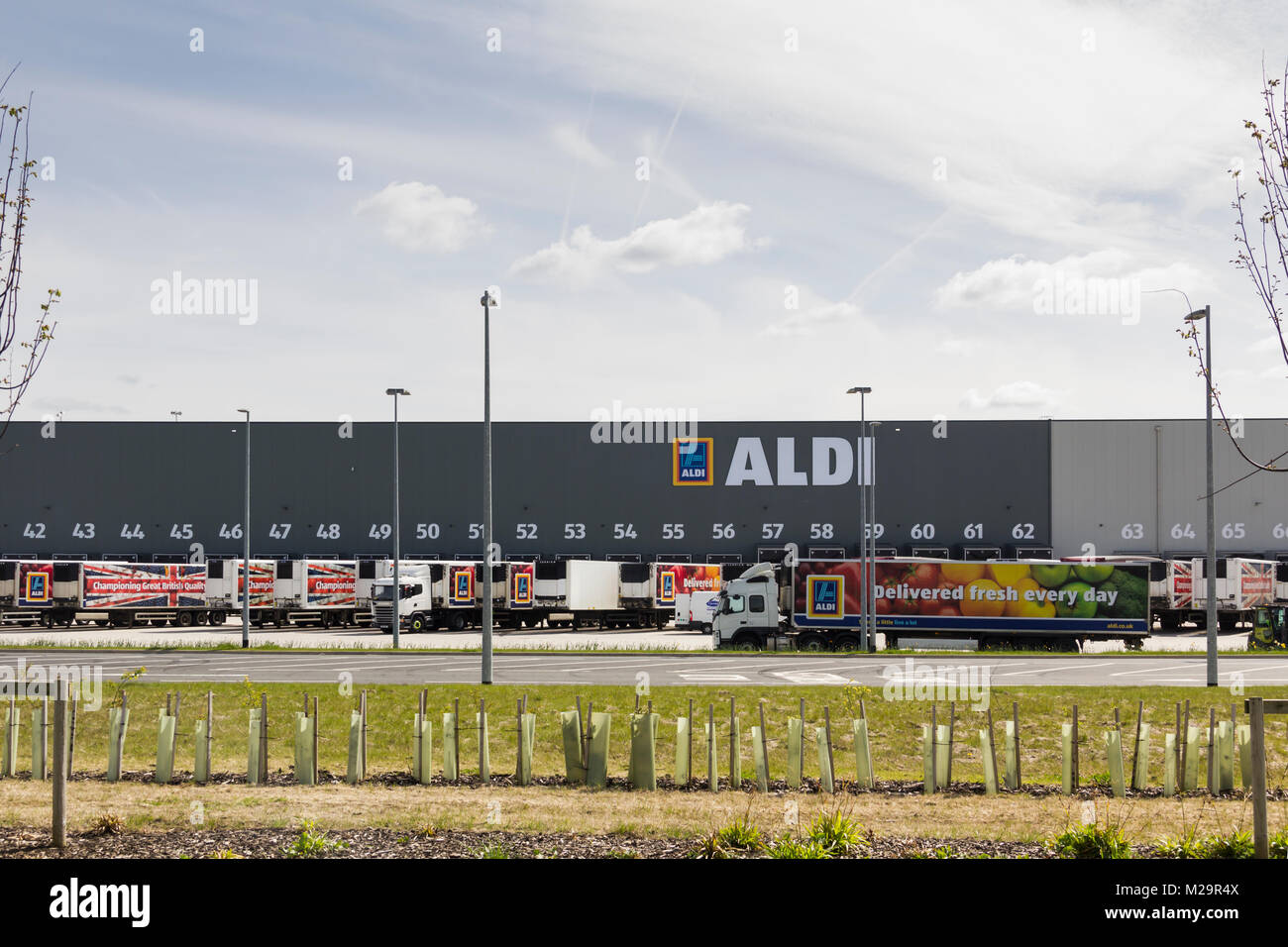 Aldi branded articulated lorries outside the new Aldi Distribution warehouse and retail training centre at Logistics - Stock Image