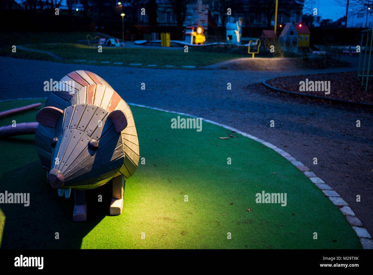 A jungle gym in form of a rat at a playground in the city - Stock Image
