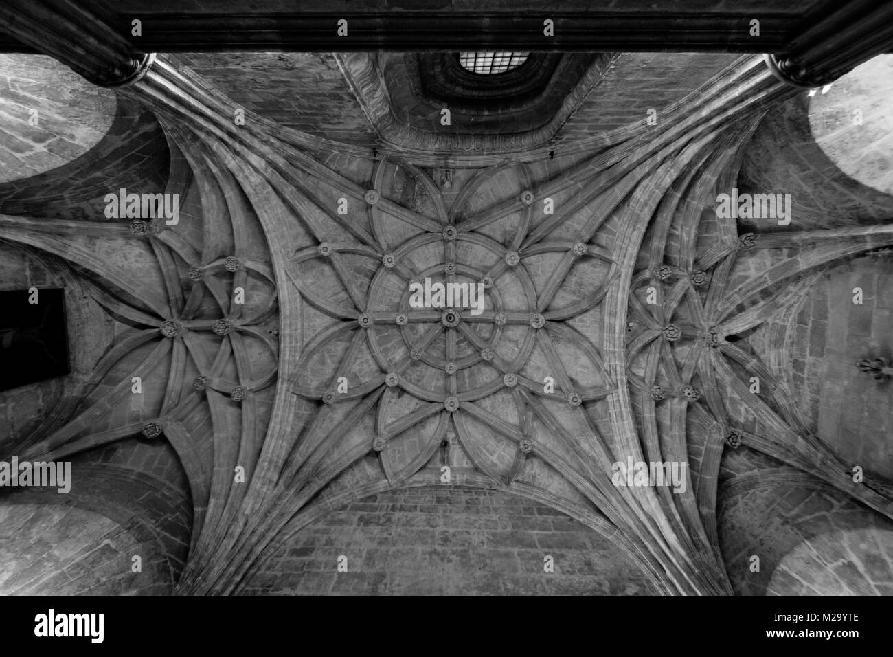 a view of the roof architecture in a church in Seville, Spain black and white - Stock Image