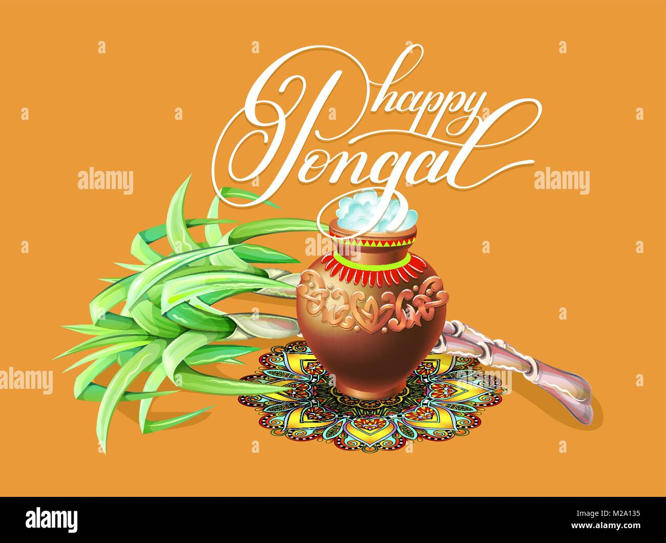 Happy pongal greeting card to south indian winter holiday design happy pongal greeting card to south indian winter holiday design m4hsunfo