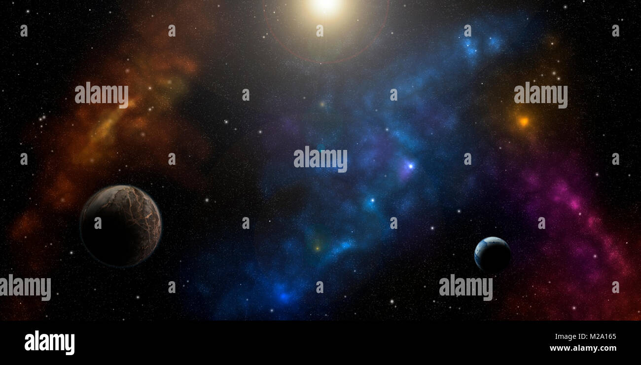 Cosmos, nebulas, stars and planets. Sci-fi background. - Stock Image