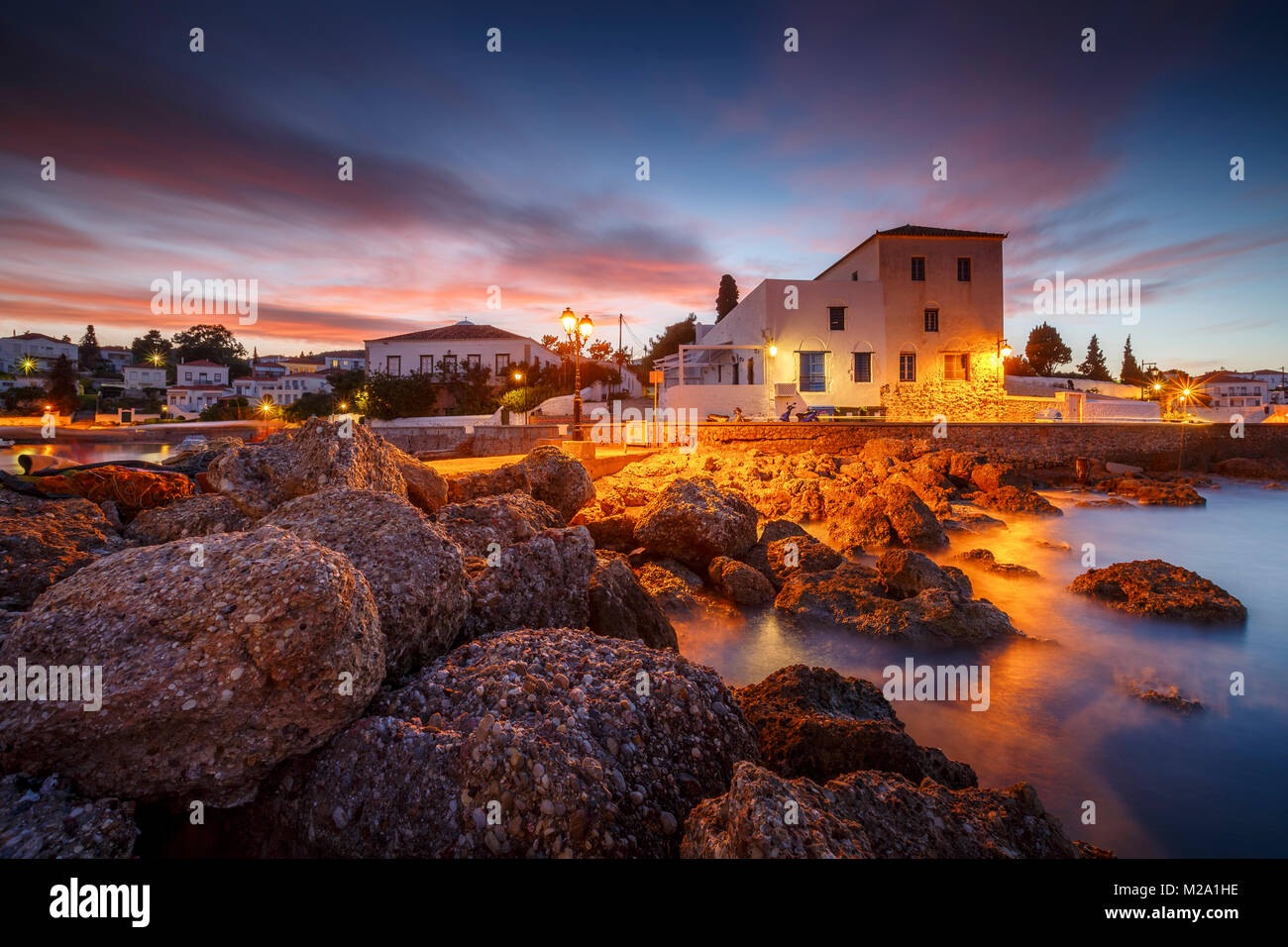 View of the harbour in Spetses, Greece. - Stock Image