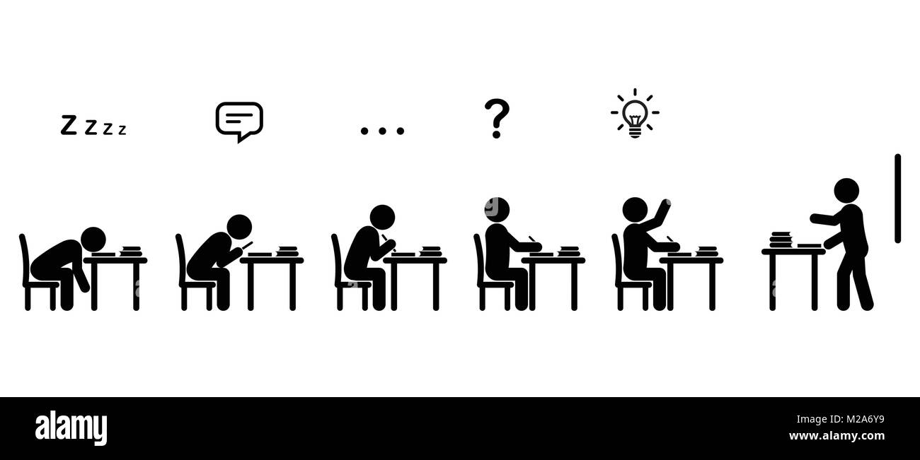 Variety Of Students Behaviors Sitting At Desks In A