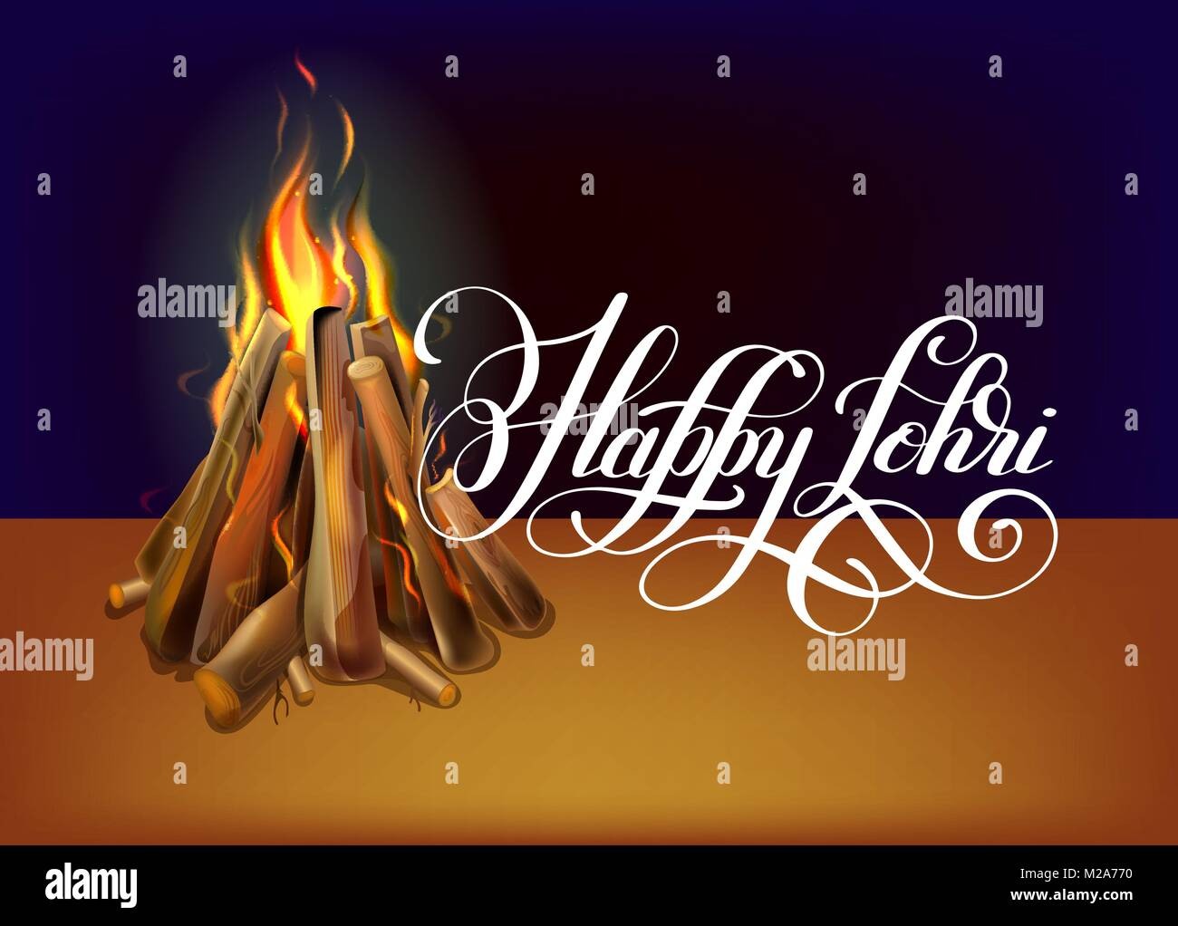 happy lohri hand lettering celebration design - Stock Vector