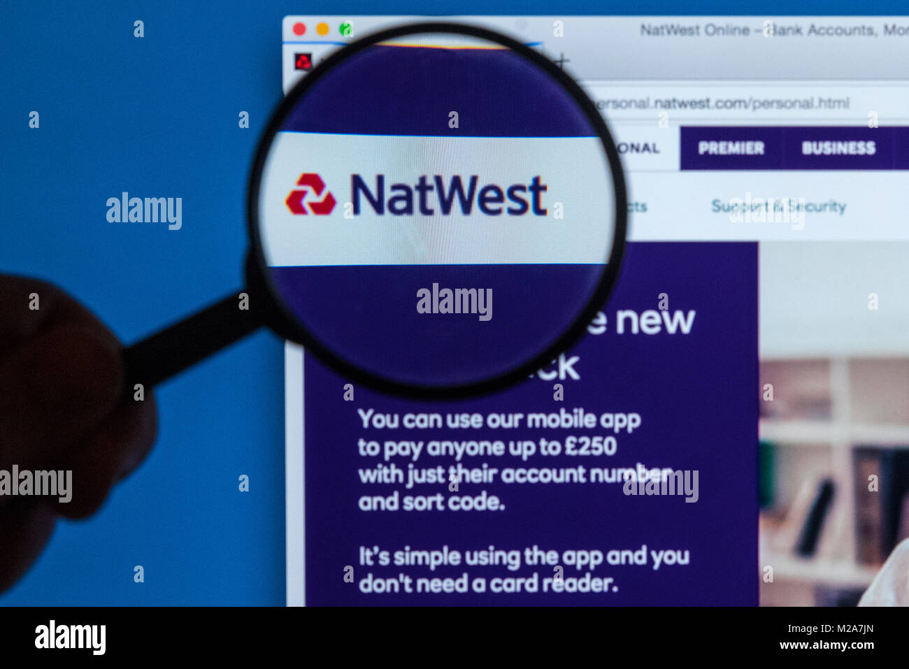 LONDON, UK - JANUARY 9TH 2018: The Natwest bank logo on their Stock ...