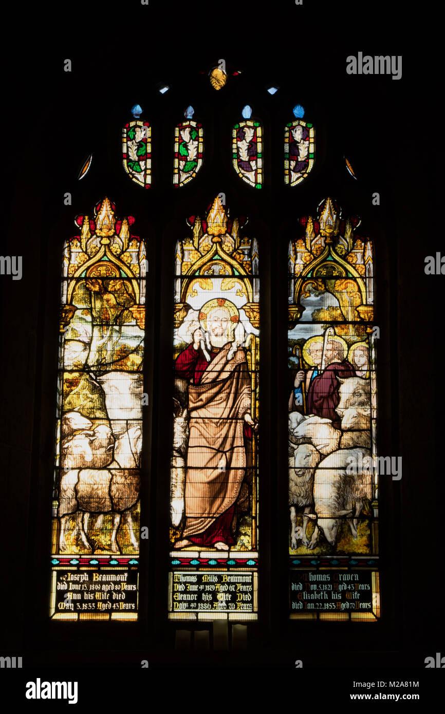 Stained glass windows at The St John Baptist Church,Knaresborough,North Yorkshire,England,UK. - Stock Image