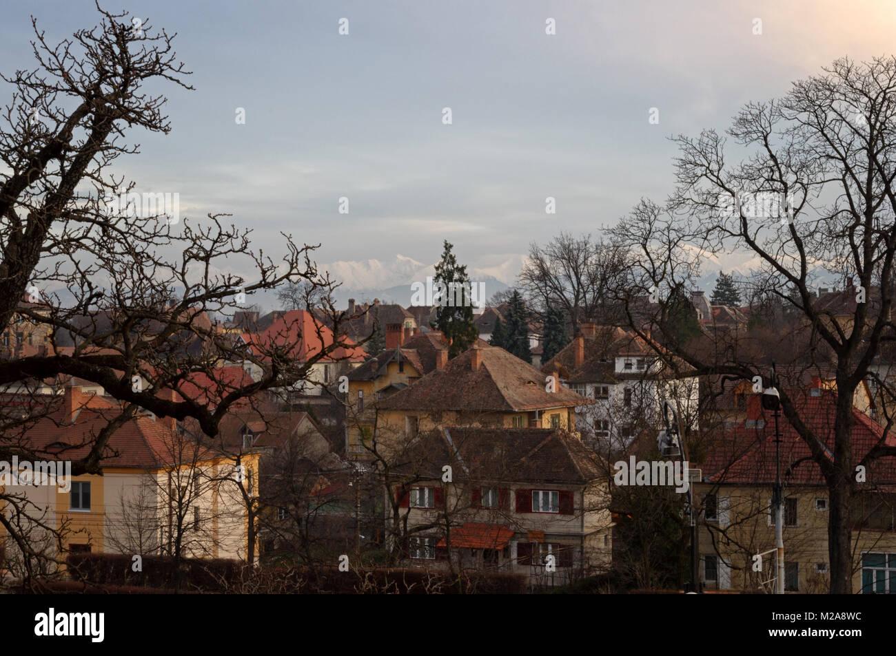 Part of Sibiu's beautiful Old Town in Transylvania - Stock Image
