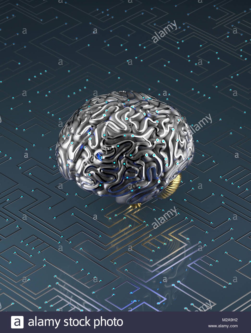 Artificial brain connected to circuit board - Stock Image