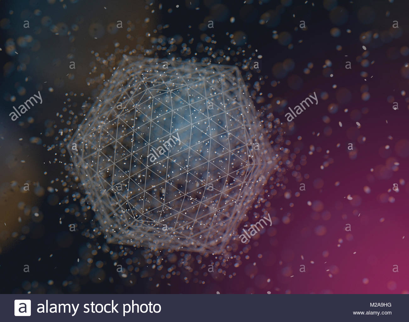 Abstract three dimensional geometric shape of triangles and hexagons - Stock Image