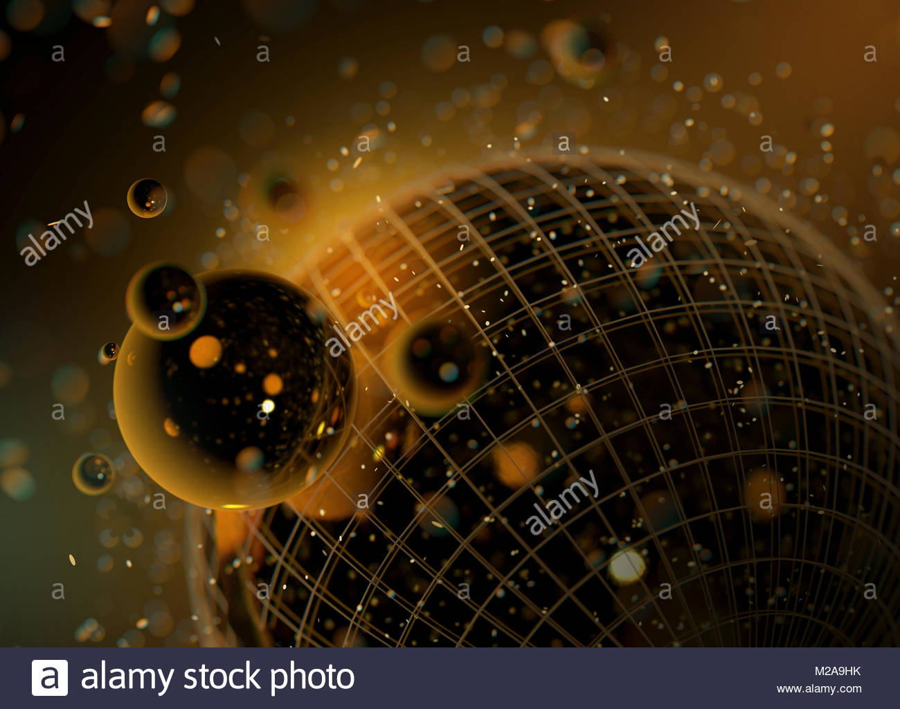 Abstract pattern of shiny gold spheres orbiting wire mesh sphere - Stock Image