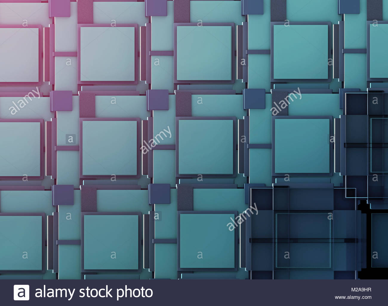 Full frame three dimensional blue repeat pattern - Stock Image