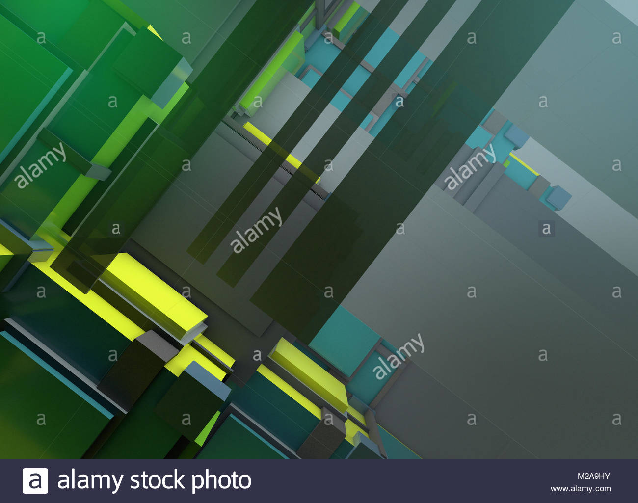 Abstract three dimensional geometric tilted structure - Stock Image