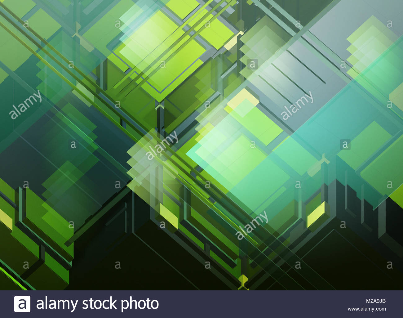 Abstract three dimensional geometric translucent structure - Stock Image