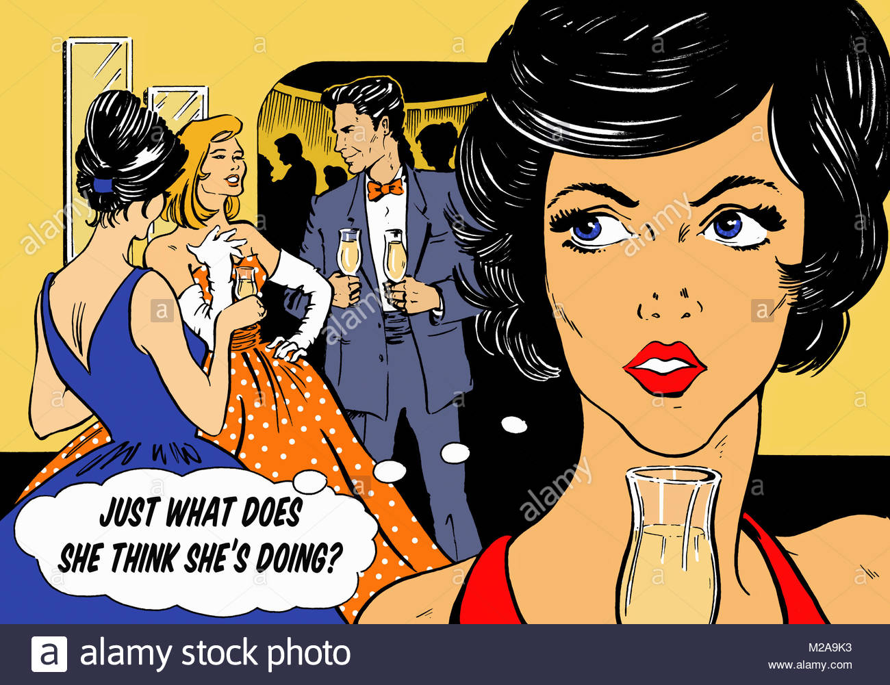 Jealous woman at party - Stock Image