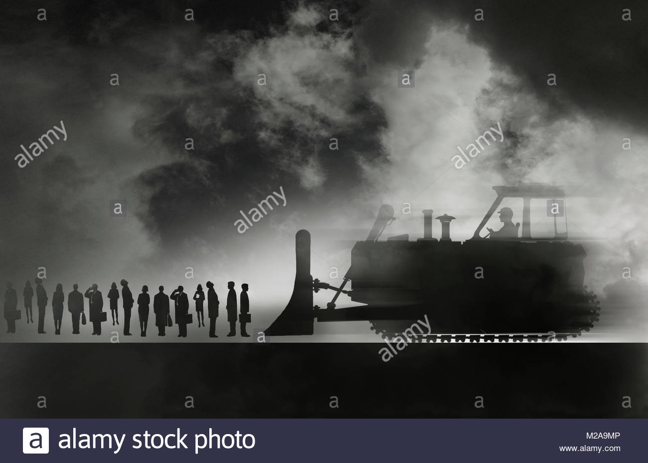 Bulldozer approaching row of business people - Stock Image