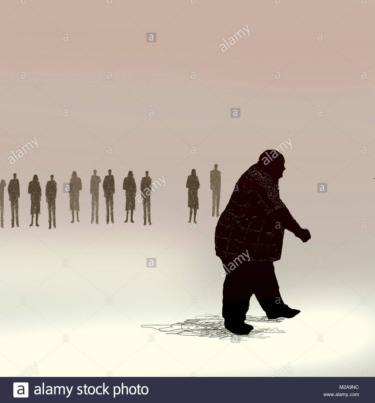 Group of people excluding overweight man - Stock Image