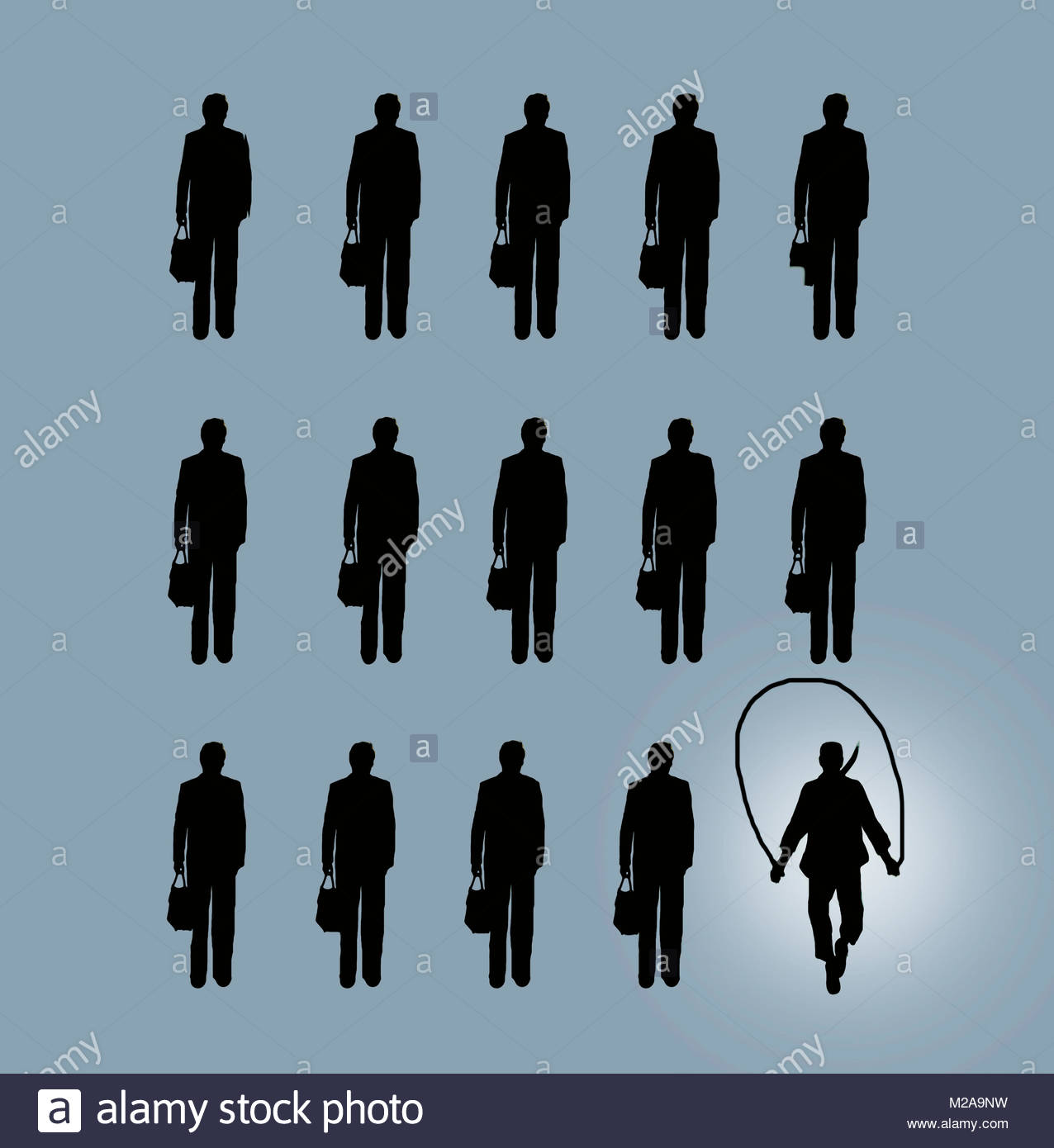 Skipping businessman standing out from the crowd - Stock Image