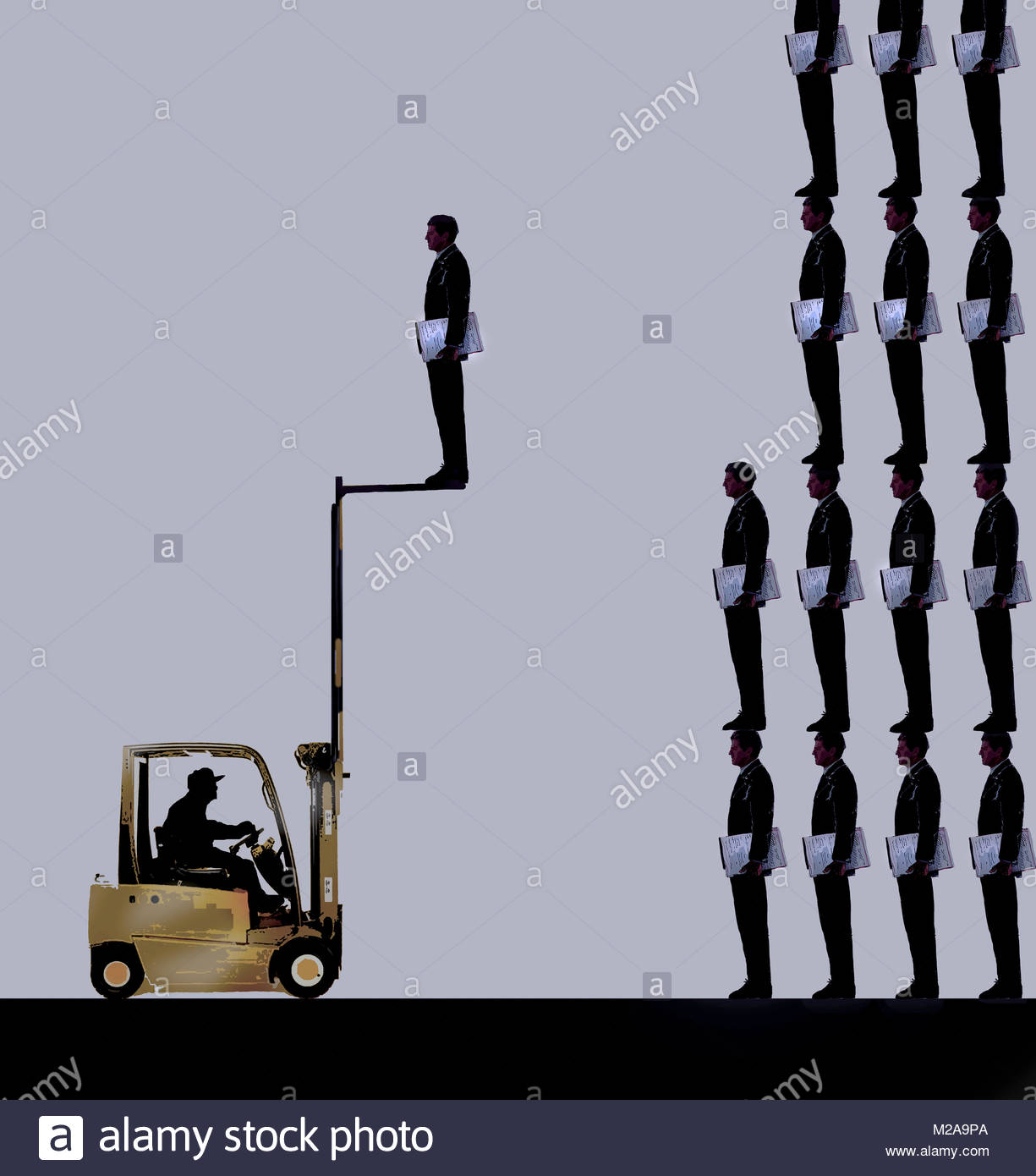 Forklift truck taking businessman from pile - Stock Image