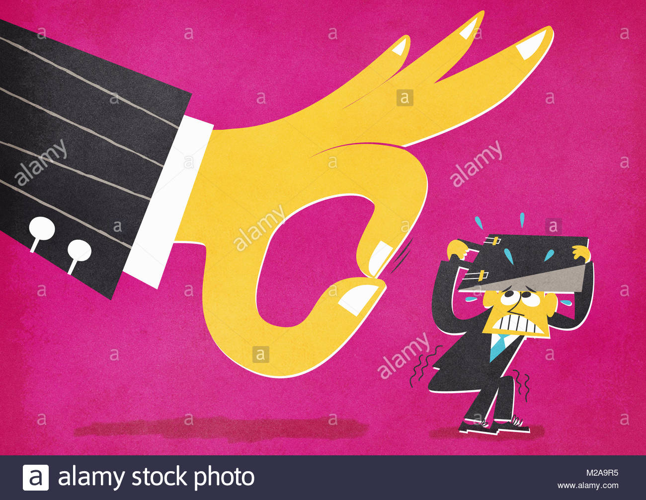 Large hand flicking small terrified businessman - Stock Image