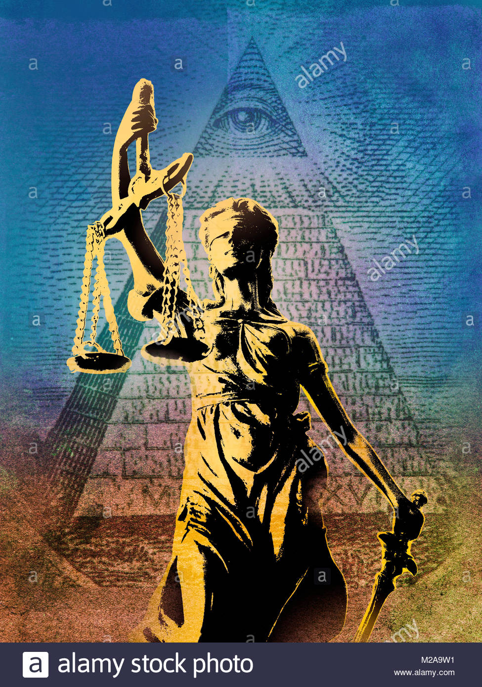 Statue of Lady Justice in front of the Eye of Providence on United States dollar note - Stock Image