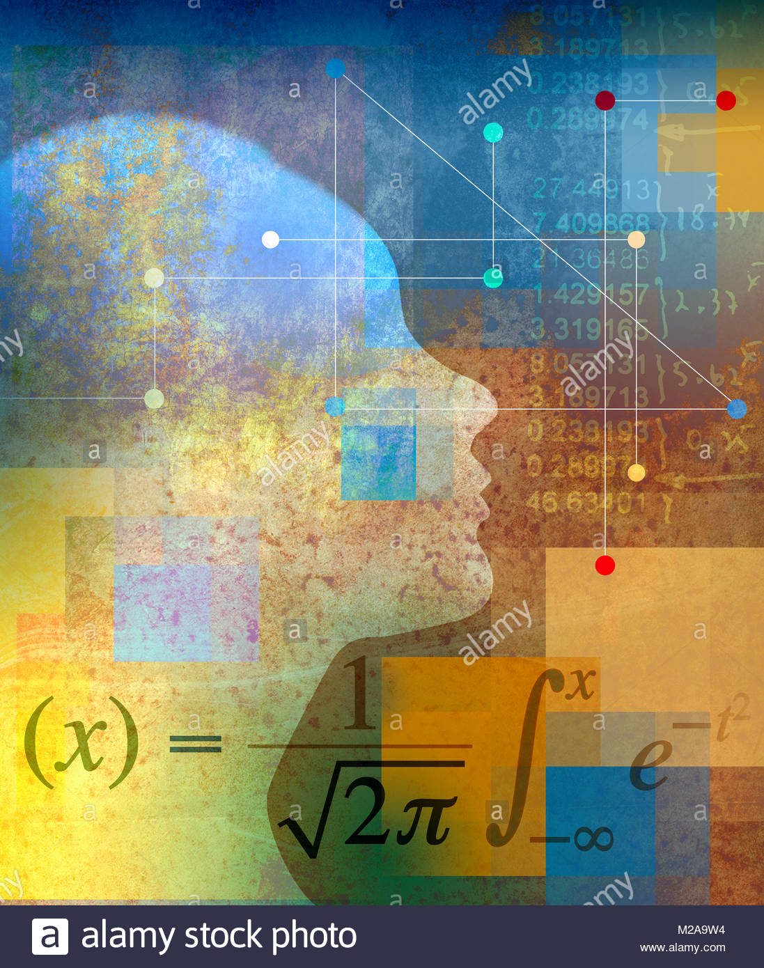 Profile of woman thinking about mathematical calculations - Stock Image