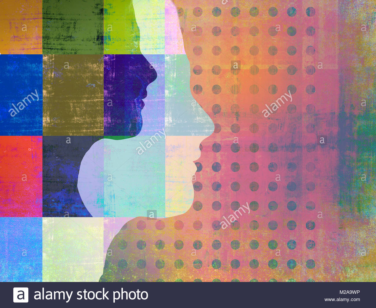 Woman's profiles superimposed on abstract pattern - Stock Image
