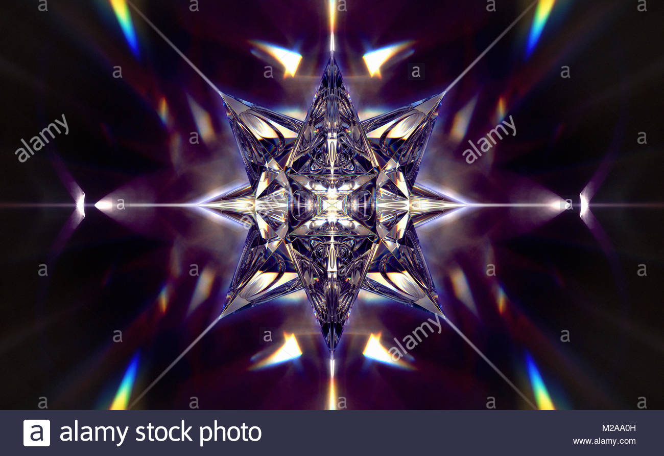 Abstract shiny three dimensional geometric star shape - Stock Image