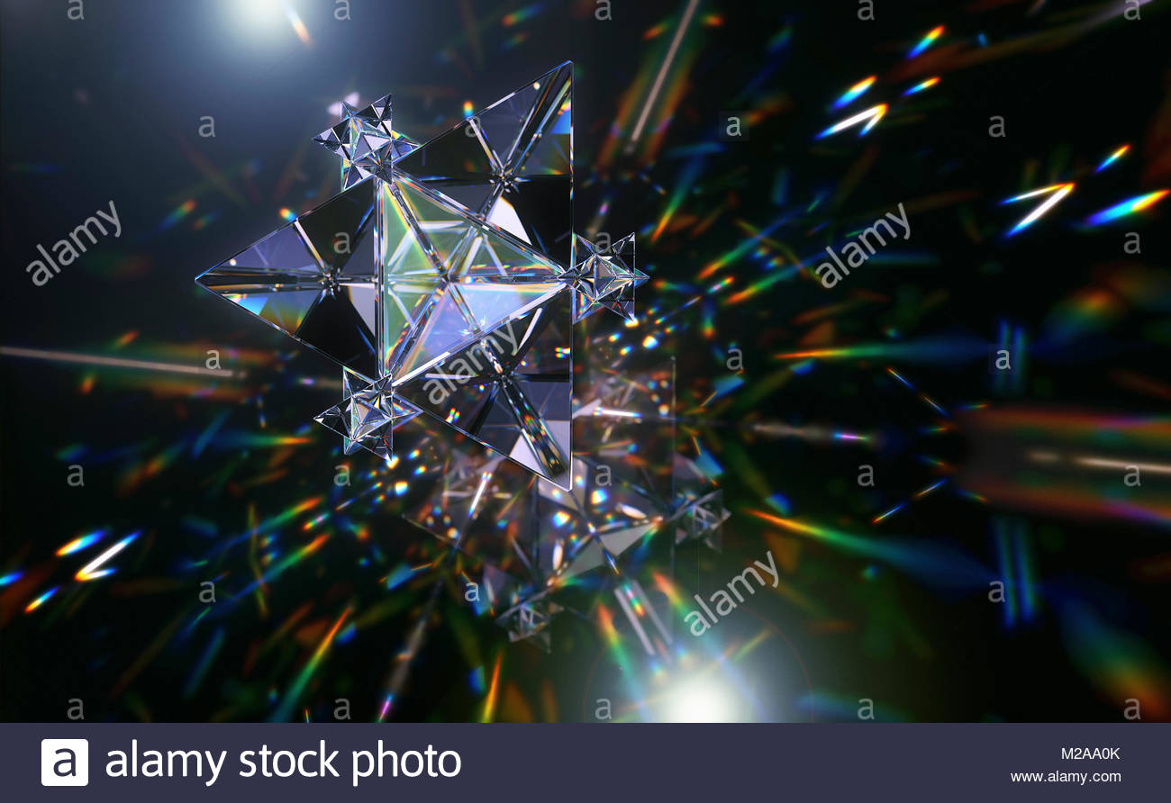 Abstract pattern of multicolored light trails and crystal triangle shapes - Stock Image