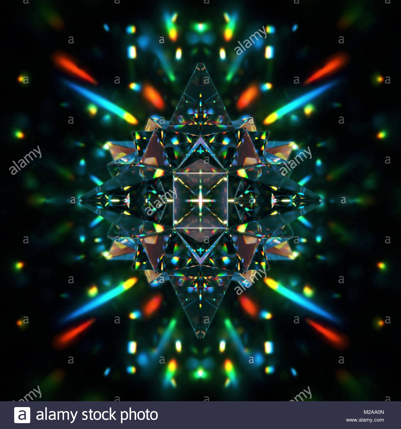 Abstract symmetrical pattern of multicolored light trails and crystal pyramid shapes - Stock Image