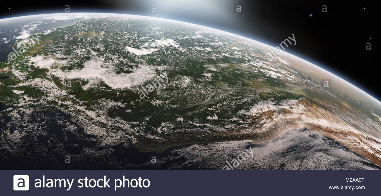Digitally manipulated image of the River Amazon and the Andes from space - Stock Image