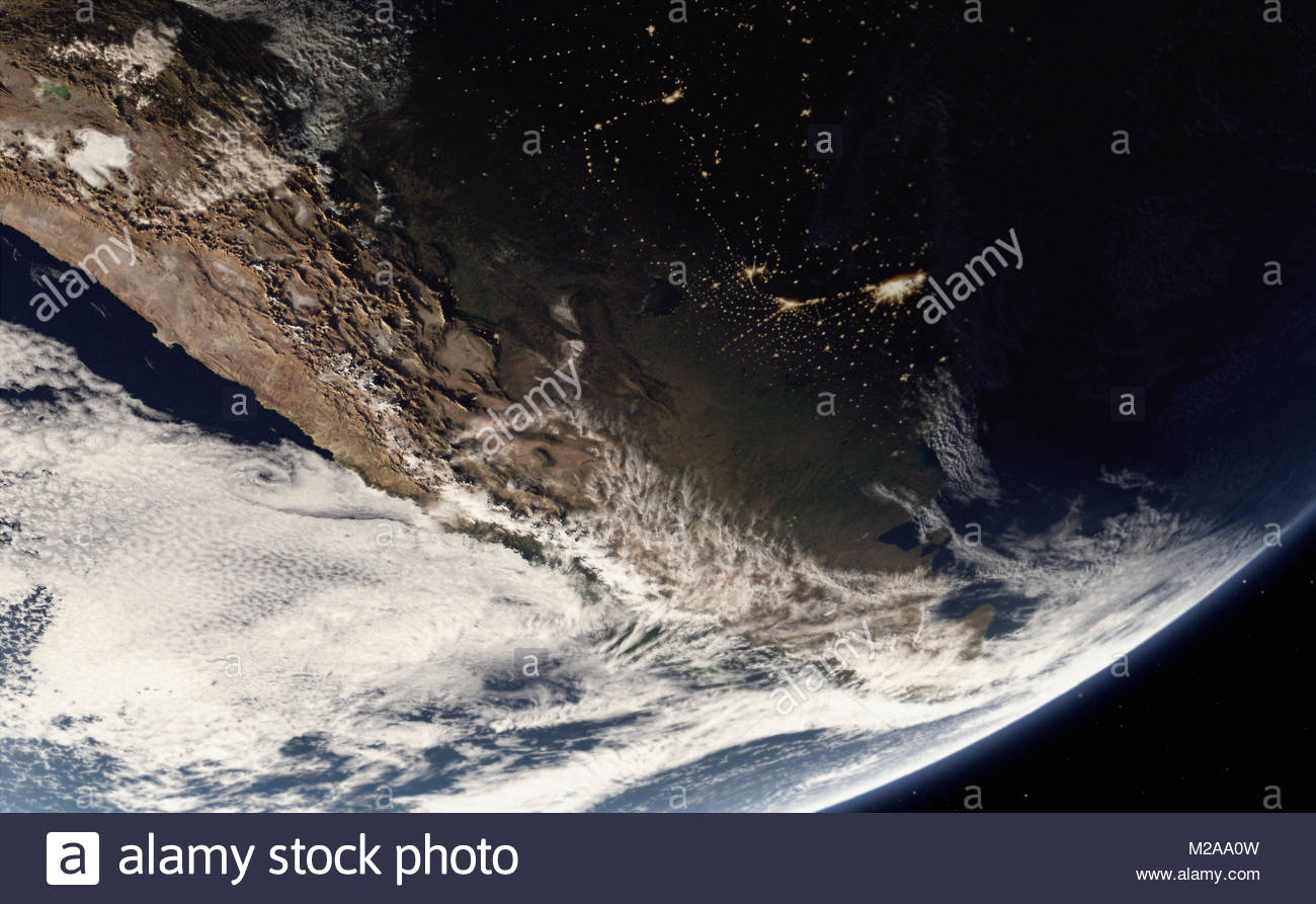 Digitally manipulated image of the Andes and city lights from space - Stock Image