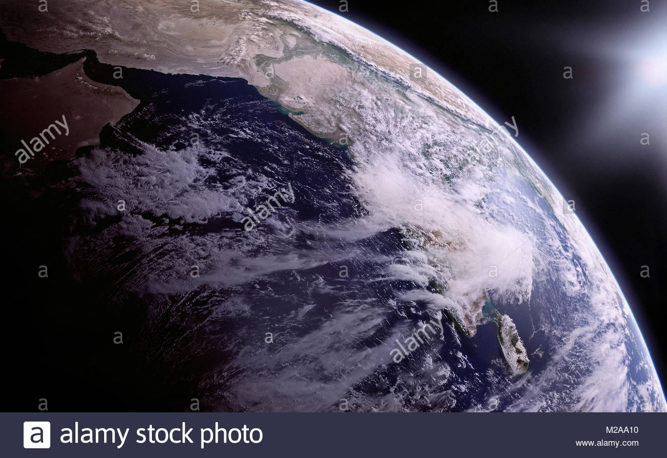 Digitally manipulated image of the Himalayas and India from space - Stock Image