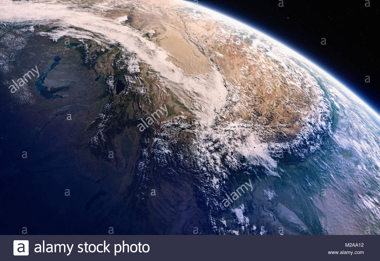 Digitally manipulated image of the Himalayas from space - Stock Image
