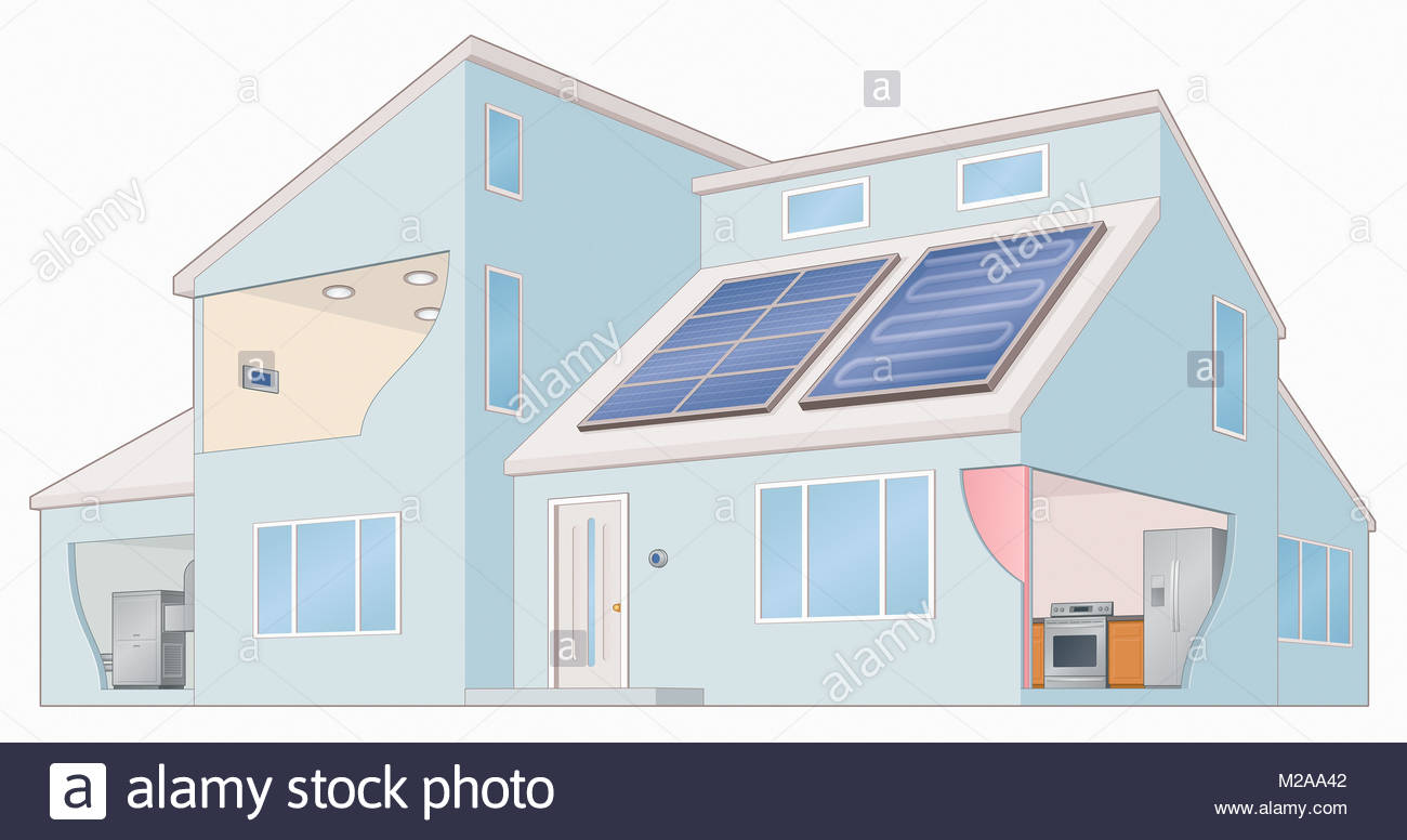 Modern house using solar panels for electricity and hot water - Stock Image