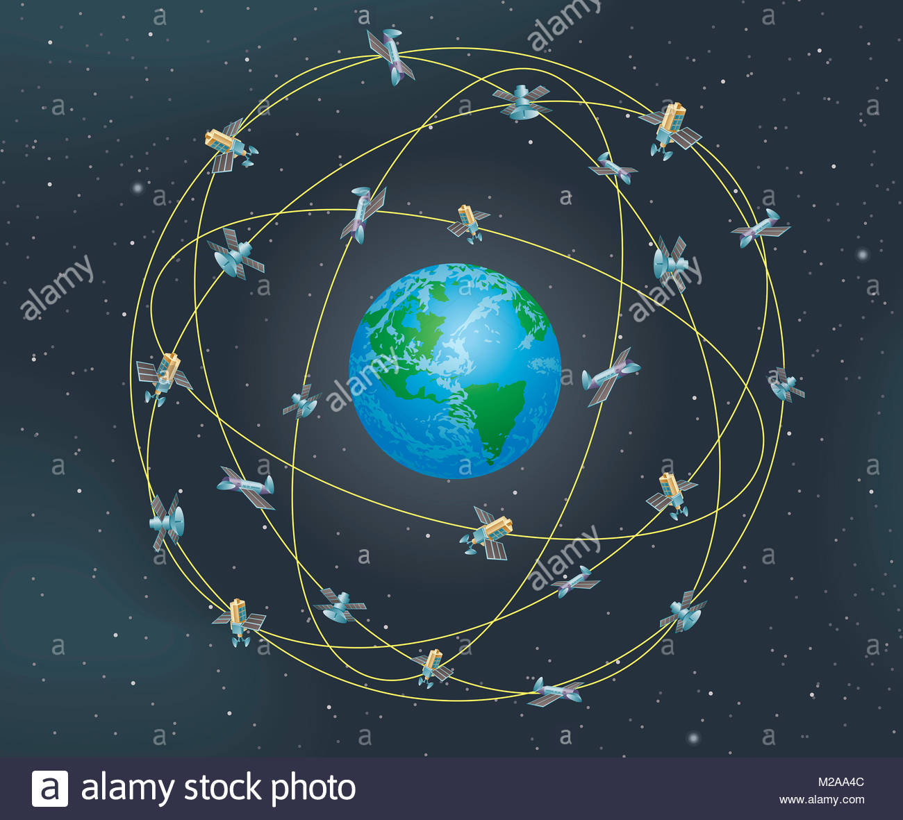 Lots of different satellites orbiting planet earth - Stock Image