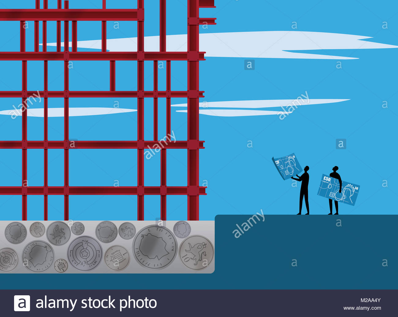 Plans for making money from steel construction frame growing from British currency - Stock Image
