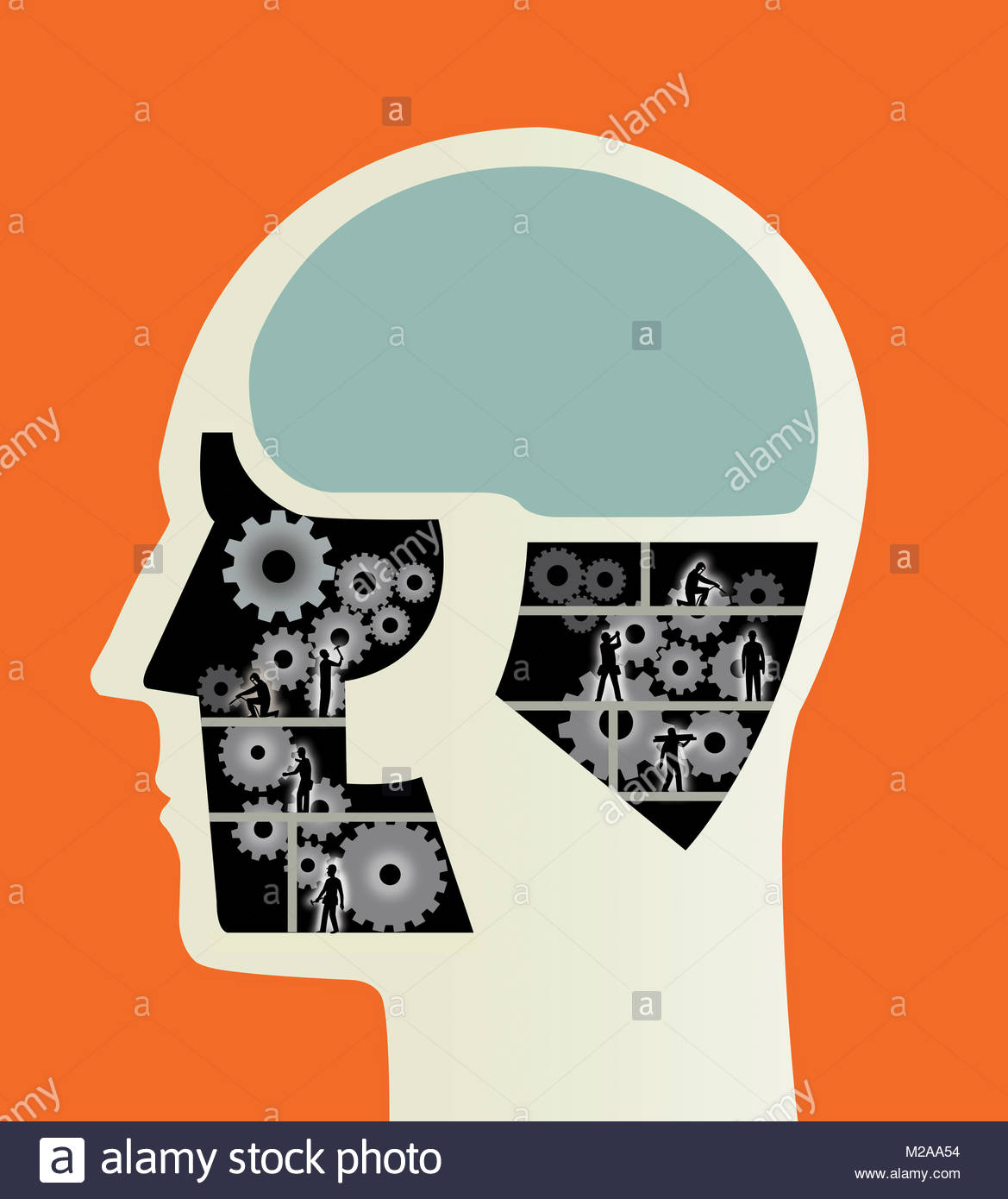 Construction workers working on cogs inside of male head - Stock Image