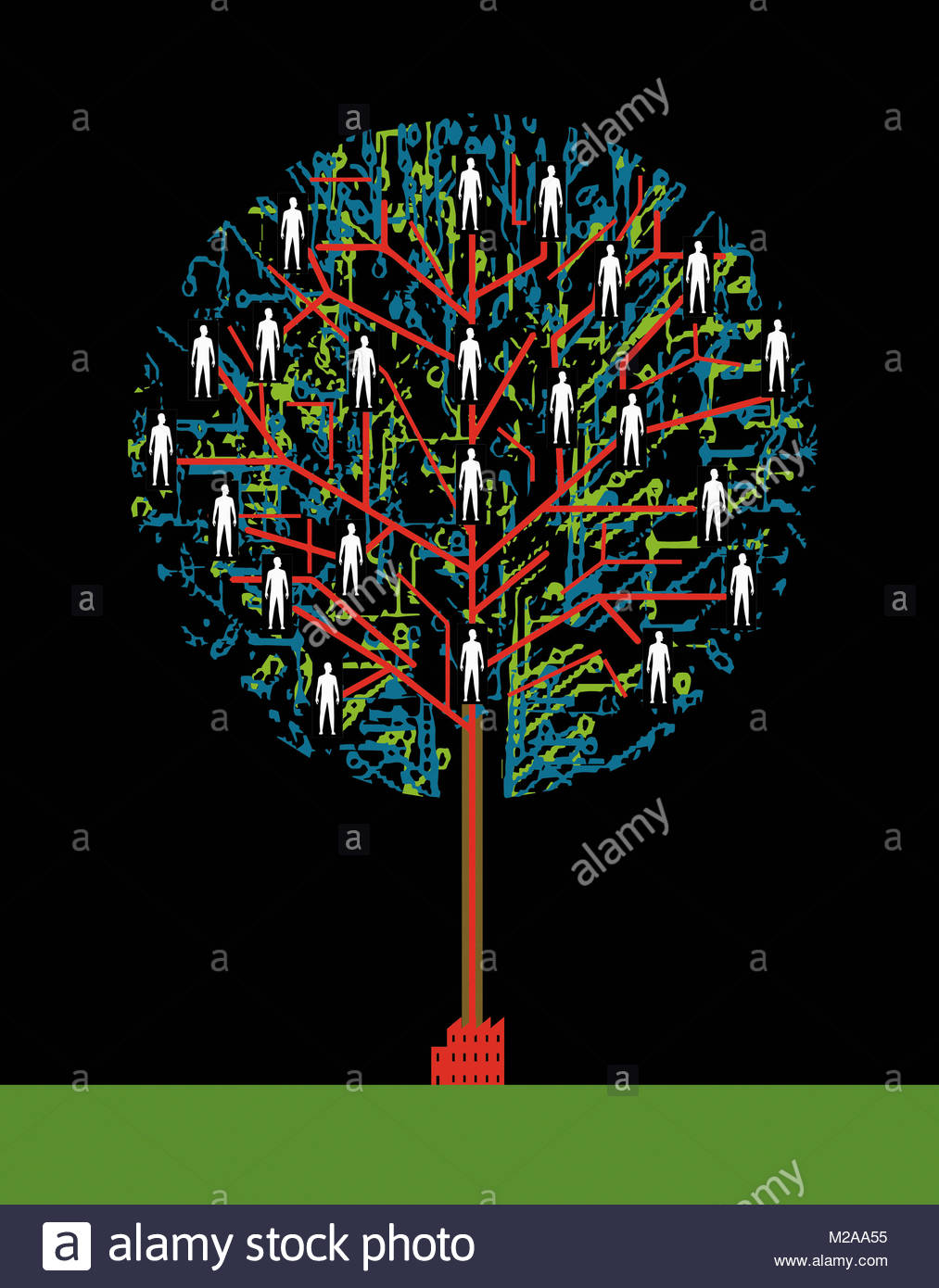 People connected in network tree growing from factory - Stock Image