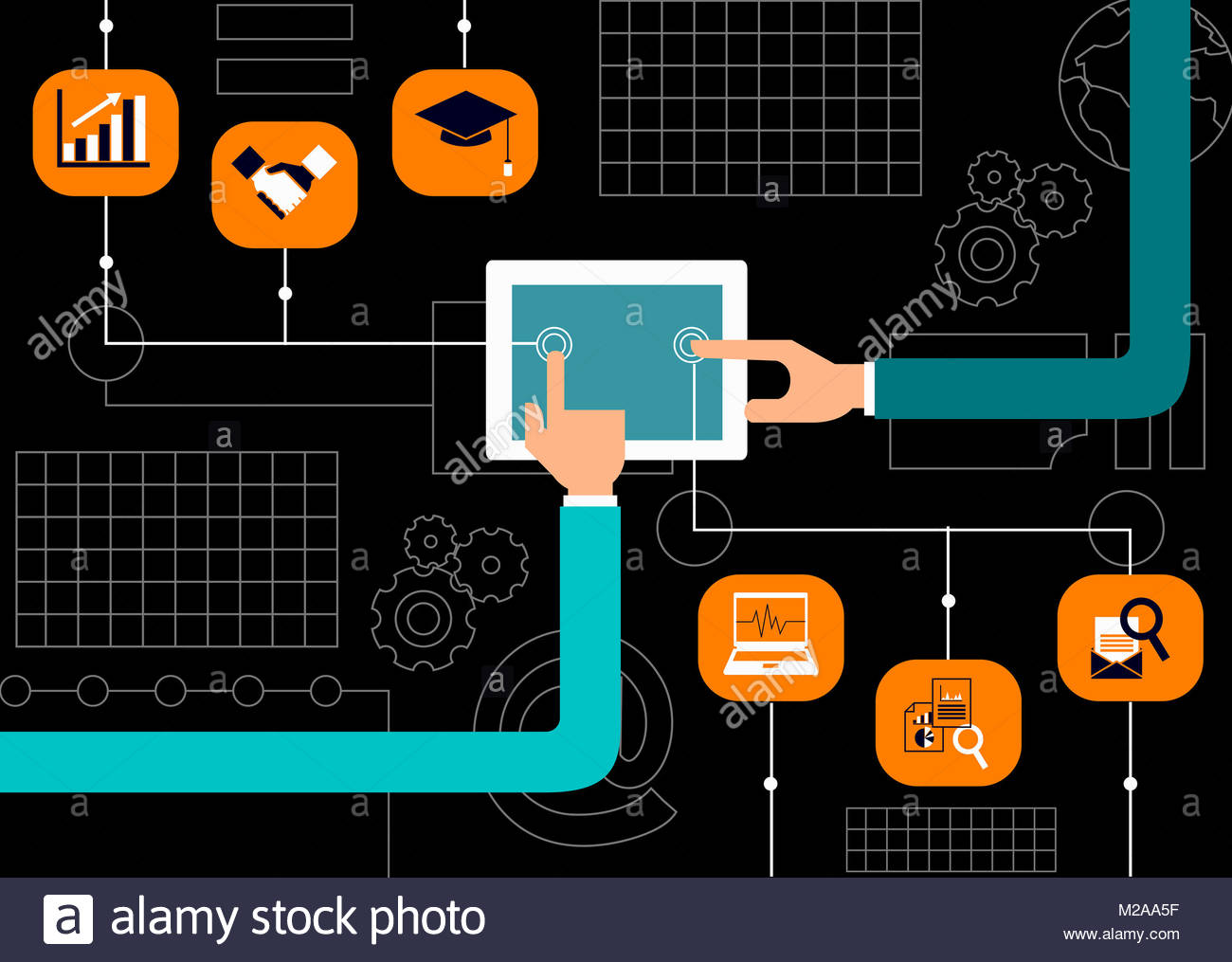 Hands using digital tablet for business and education - Stock Image