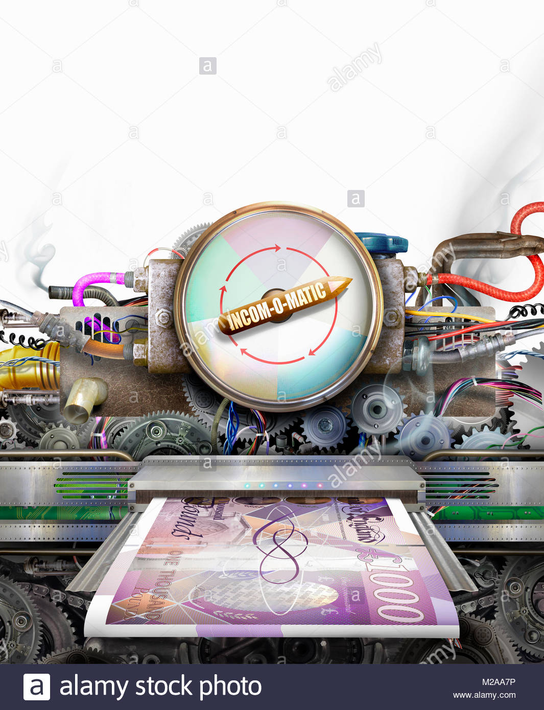 Money making machine printing one thousand pound notes - Stock Image