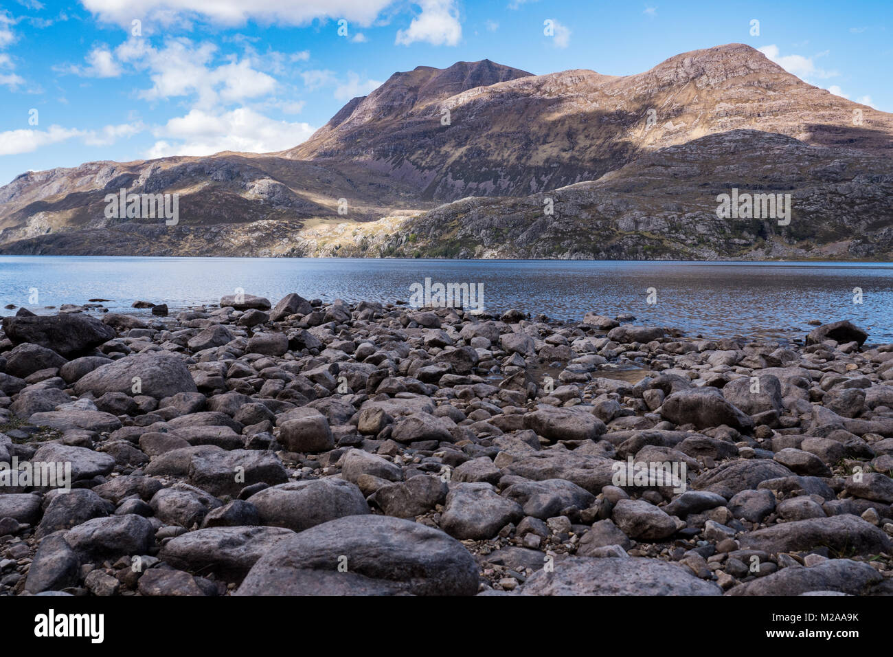 Loch Maree with the Beinn Eighe national nature reserve in the background. - Stock Image