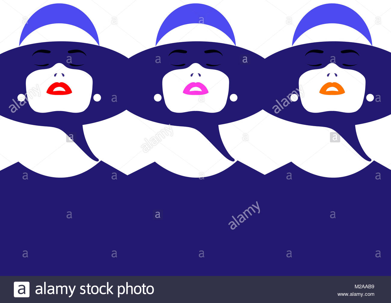Repeated face of beautiful woman wearing different colored lipstick - Stock Image