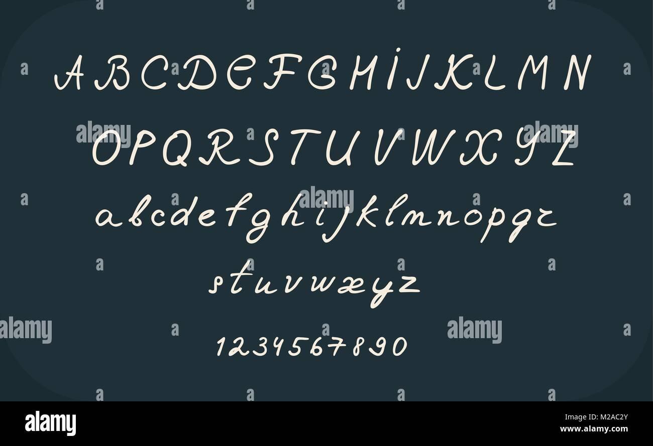 Hand Lettering Alphabet Design Handwritten Brush Calligraphy Cursive Font Vector Illustration Uppercase And Lowercase Numbers Black White