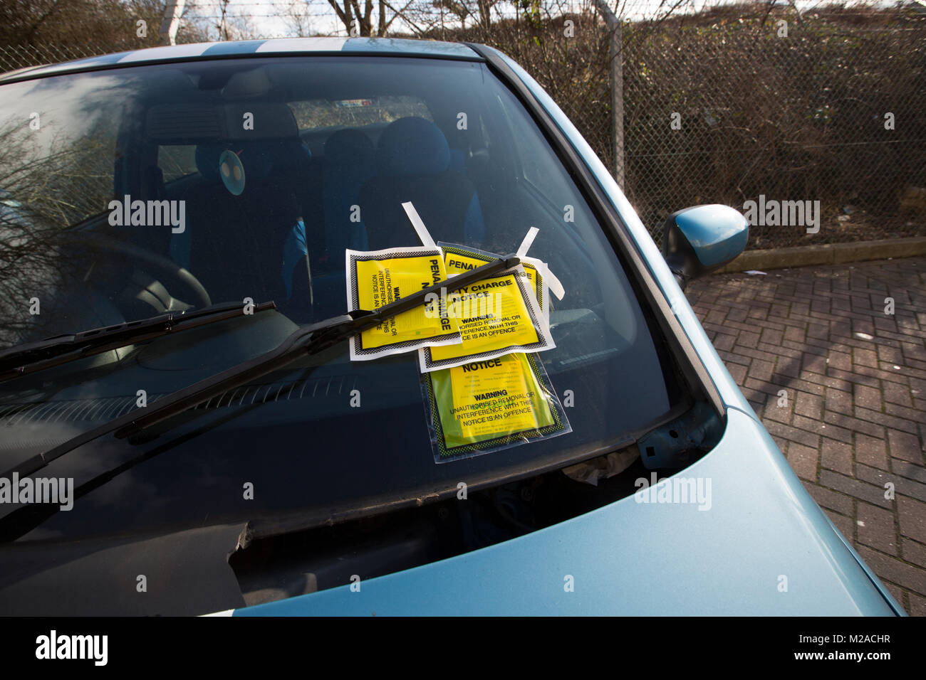 Car with multiple penalty charge notices (PCN's), London, UK - Stock Image